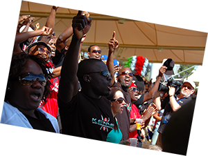 Kenyans cheering after winning at the rugby sevens in Adelaide